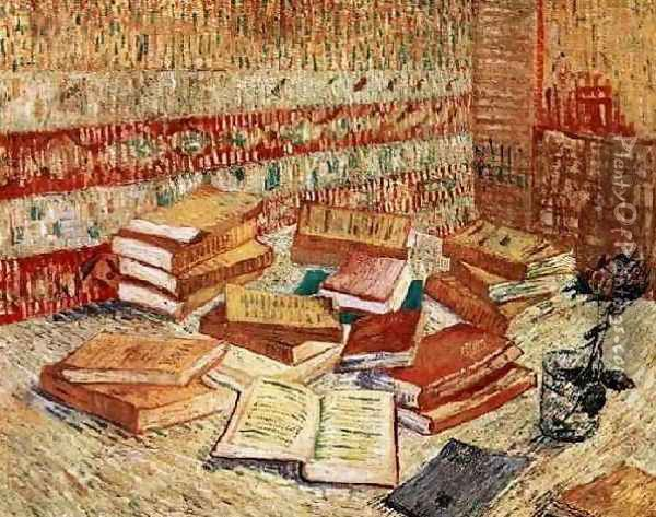 Still Life With French Novels And A Rose Oil Painting - Vincent Van Gogh