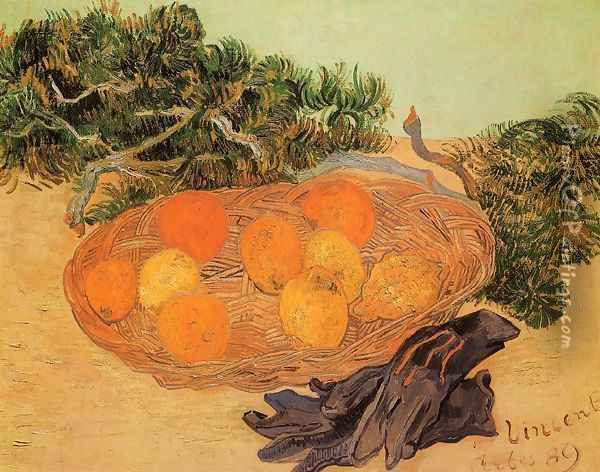 Still Life With Oranges Lemons And Blue Gloves Oil Painting - Vincent Van Gogh