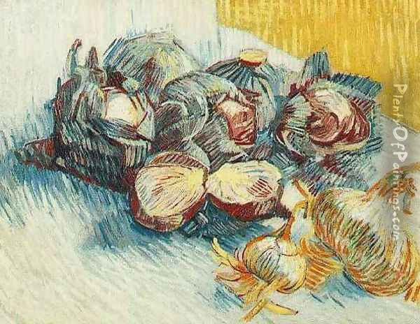 Still Life With Red Cabbages And Onions Oil Painting - Vincent Van Gogh