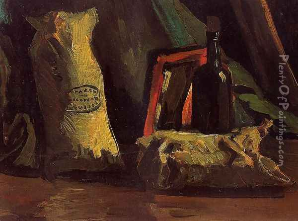 Still Life With Two Sacks And A Bottle Oil Painting - Vincent Van Gogh