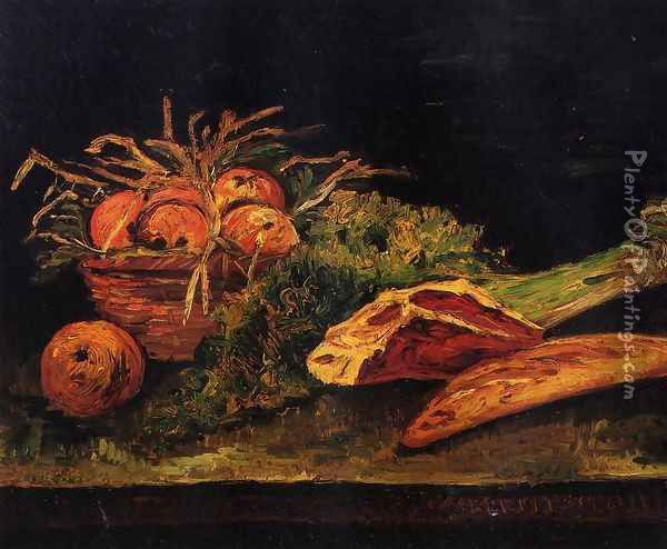Still Life with Apples, Meat and a Roll Oil Painting - Vincent Van Gogh