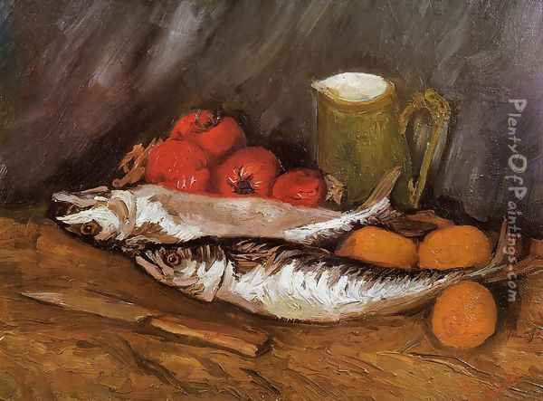 Still Life with Mackerels, Lemons and Tomatoes Oil Painting - Vincent Van Gogh