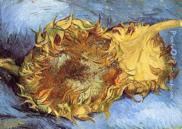 Still Life with Two Sunflowers I Oil Painting - Vincent Van Gogh
