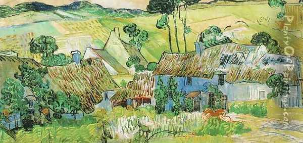 Thatched Cottages By A Hill Oil Painting - Vincent Van Gogh