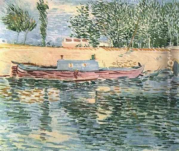 The Banks Of The Seine With Boats Oil Painting - Vincent Van Gogh
