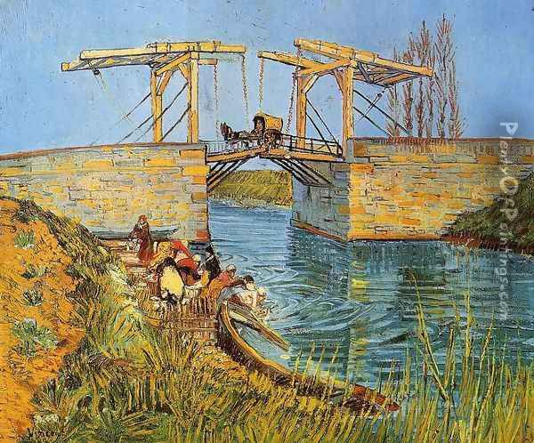 The Langlois Bridge at Arles with Women Washing Oil Painting - Vincent Van Gogh