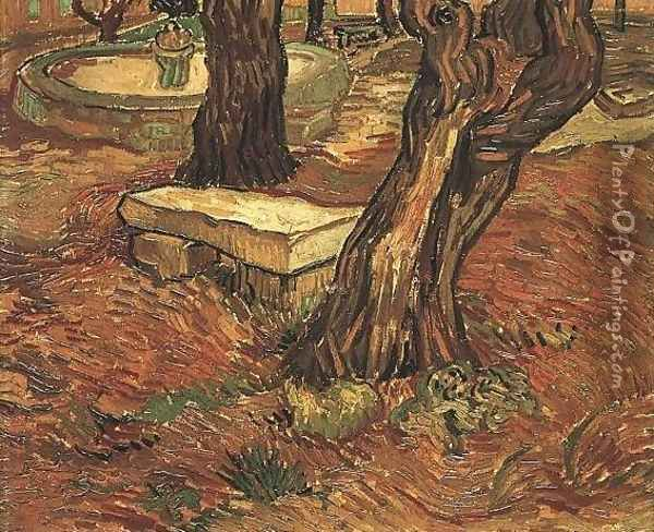The Stone Bench In The Garden Of Saint Paul Hospital Oil Painting - Vincent Van Gogh
