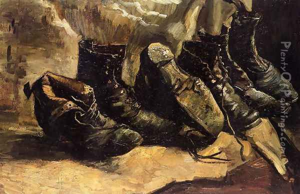 Three Pairs Of Shoes Oil Painting - Vincent Van Gogh