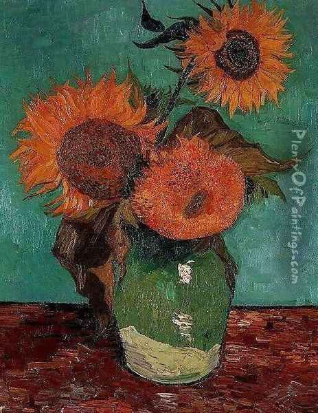 Three Sunflowers In A Vase Oil Painting - Vincent Van Gogh