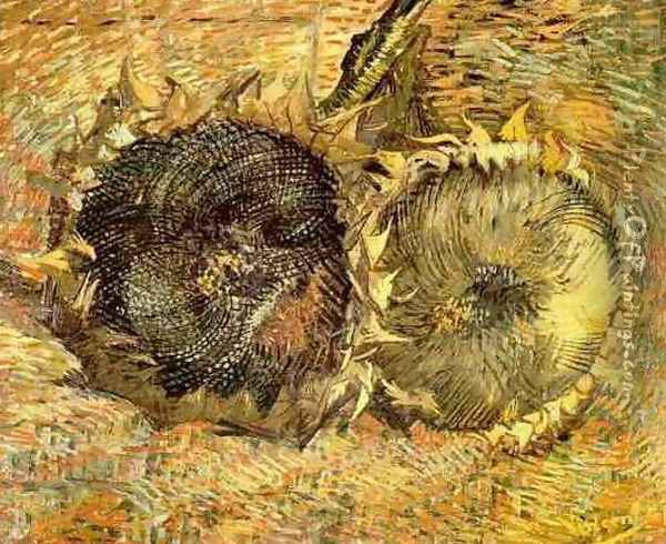 Two Cut Sunflowers II Oil Painting - Vincent Van Gogh