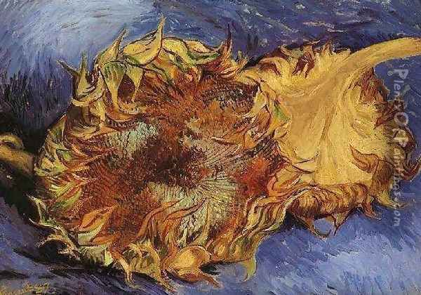 Two Cut Sunflowers III Oil Painting - Vincent Van Gogh