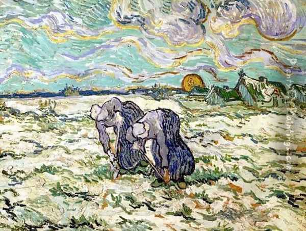Two Peasant Women Digging In Field With Snow Oil Painting - Vincent Van Gogh