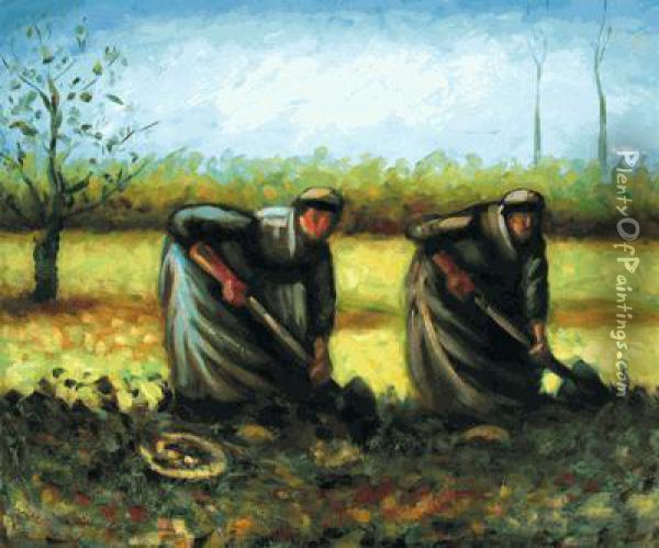 Two Peasant Women Digging Potatoes Oil Painting - Vincent Van Gogh