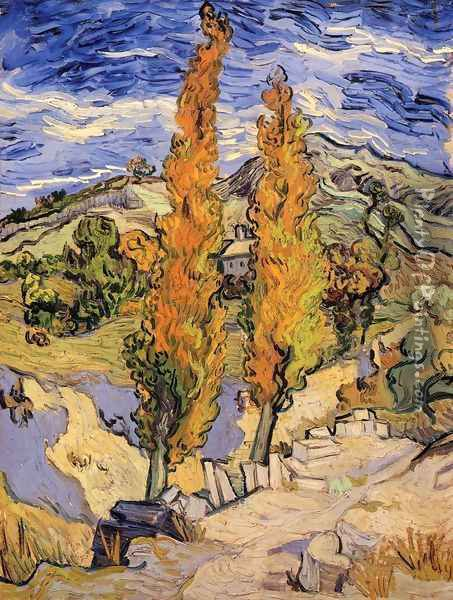 Two Poplars On A Road Through The Hills Oil Painting - Vincent Van Gogh