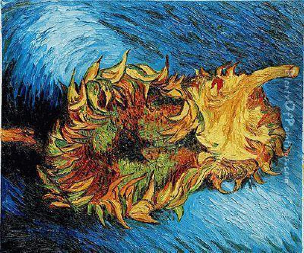 Two Sunflowers Oil Painting - Vincent Van Gogh
