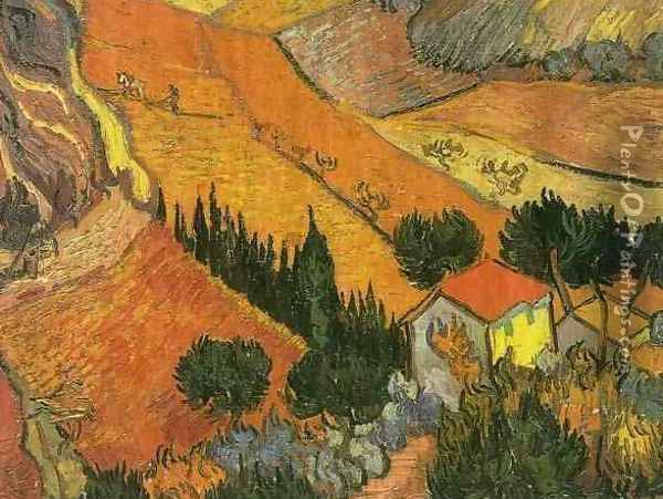 Valley With Ploughman Seen From Above Oil Painting - Vincent Van Gogh