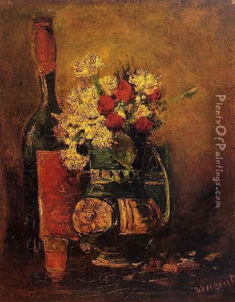 Vase With Carnations And Roses And A Bottle Oil Painting - Vincent Van Gogh