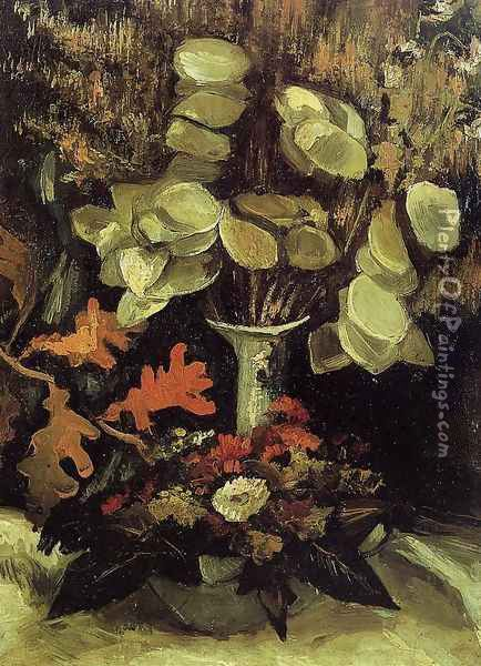 Vase With Honesty Oil Painting - Vincent Van Gogh