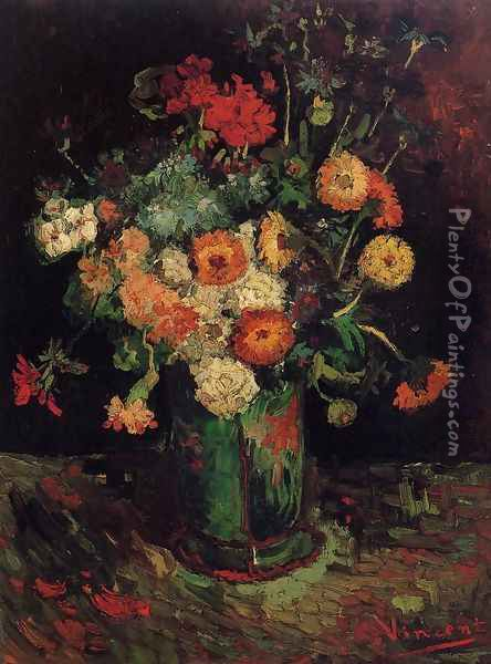 Vase With Zinnias And Geraniums Oil Painting - Vincent Van Gogh