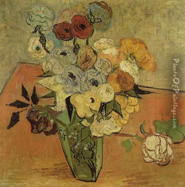 Vase with Roses and Anemones Oil Painting - Vincent Van Gogh