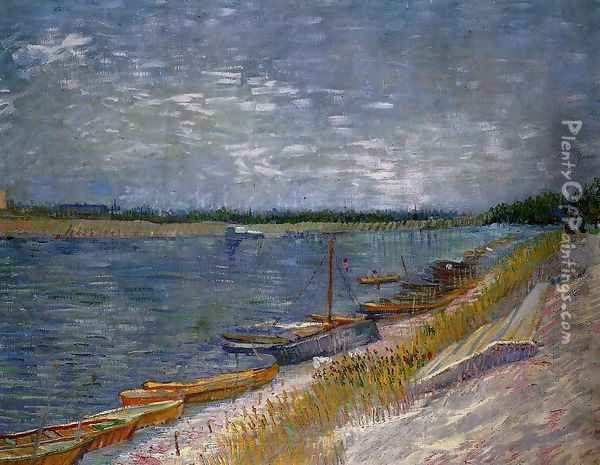 View Of A River With Rowing Boats Oil Painting - Vincent Van Gogh