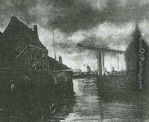 View Of A Town With Drawbridge Oil Painting - Vincent Van Gogh