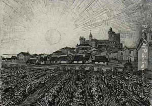 View Of Saintes Maries With Church And Ramparts 1888 Oil Painting - Vincent Van Gogh