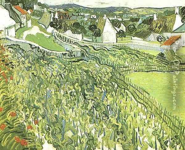 Vineyards With A View Of Auvers Oil Painting - Vincent Van Gogh