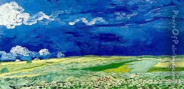 Wheat Field Under Clouded Sky Oil Painting - Vincent Van Gogh