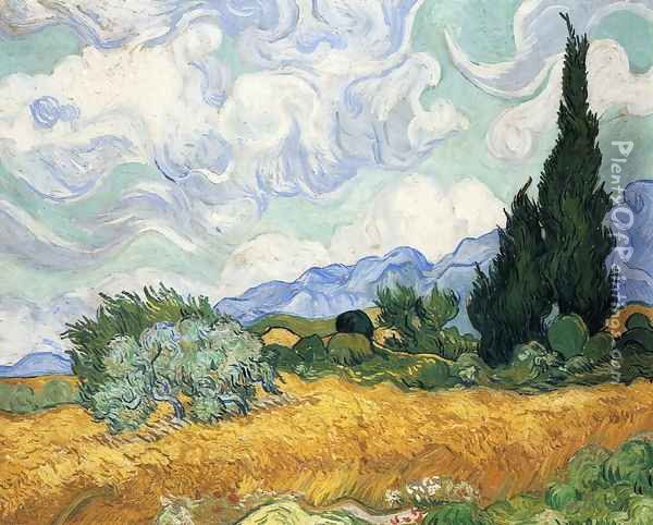 Wheatfield with Cypress I Oil Painting - Vincent Van Gogh