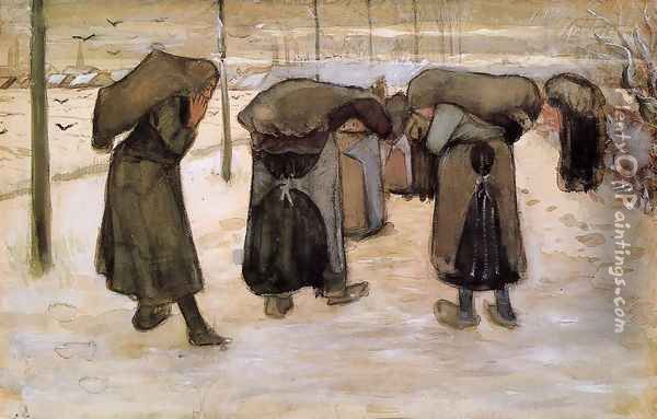 Woman Miners Carrying Coal Oil Painting - Vincent Van Gogh