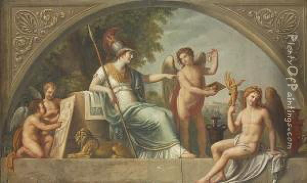 Minerva As Protector Of The Arts Oil Painting - Vincenzo Valdre