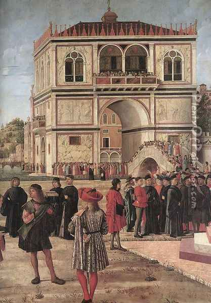 The Ambassadors Return to the English Court (detail) 1495-1500 Oil Painting - Vittore Carpaccio