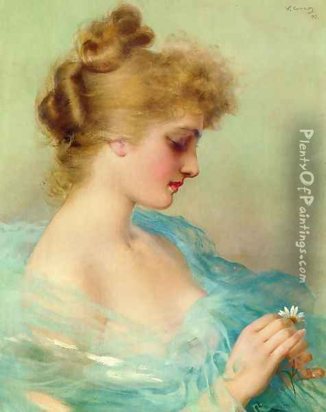 He Loves Me, He Loves Me Not Oil Painting - Vittorio Matteo Corcos