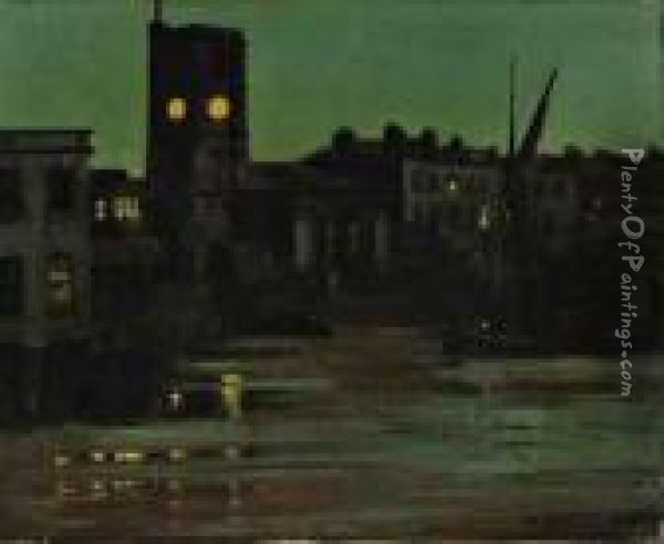 Clock Tower At Dusk, Chelsea Reach Oil Painting - Walter Greaves