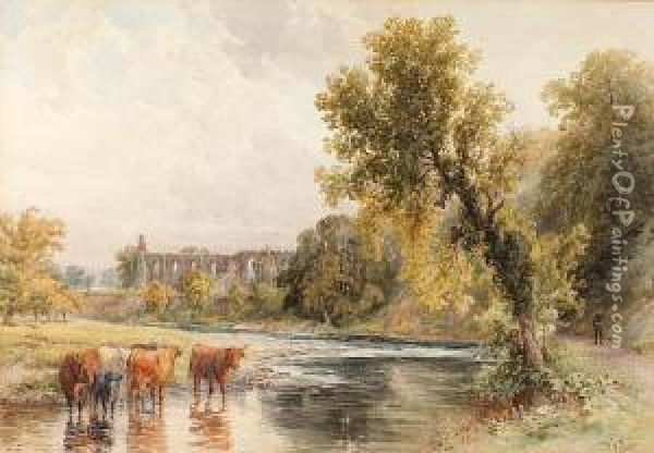 Cattle Watering Before A Ruined Abbey Oil Painting - Walter Henry Pigott