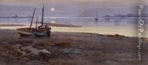 Fishergirls On The Shore At Dusk Oil Painting - Warren Williams
