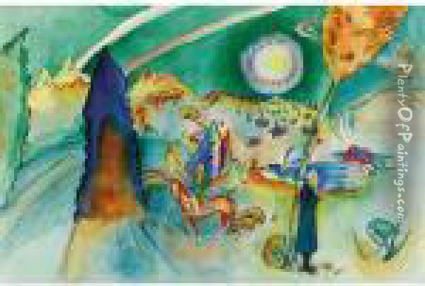 Aquarell Fur Poul Bjerre (watercolour For Poul Bjerre) Oil Painting - Wassily Kandinsky