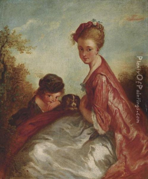 A Mother And Child With A Dog, In A Landscape Oil Painting - Watteau, Jean Antoine