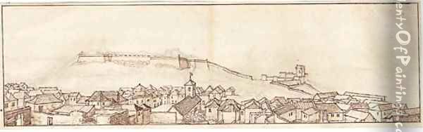 View of the town and fort, Tangier, from the south-east (recto); View from the Bowling Green, Tangier (verso) Oil Painting - Wenceslaus Hollar