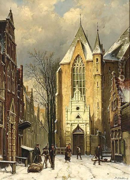 A Wintry View Of The Westerstraat With The Westerkerk, Enkhuizen Oil Painting - Willem Koekkoek