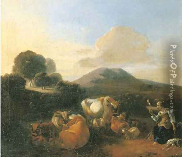 An Italianate landscape with shepherds with goats, sheep and cattle resting by a river Oil Painting - Willem Romeyn