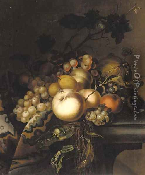 Grapes and vine leaves, peaches, apricots, horse chestnuts and blackberries on a draped ledge Oil Painting - Willem Van Aelst