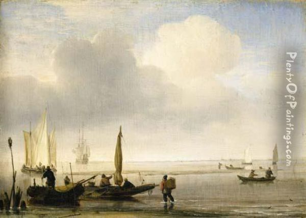 Two Fishing Boats Off A Spit Of Sand In A Calm, With Other Shipping In An Estuary Oil Painting - Willem van de, the Elder Velde