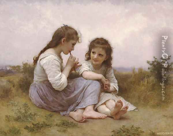 A Childhood Idyll Oil Painting - William-Adolphe Bouguereau