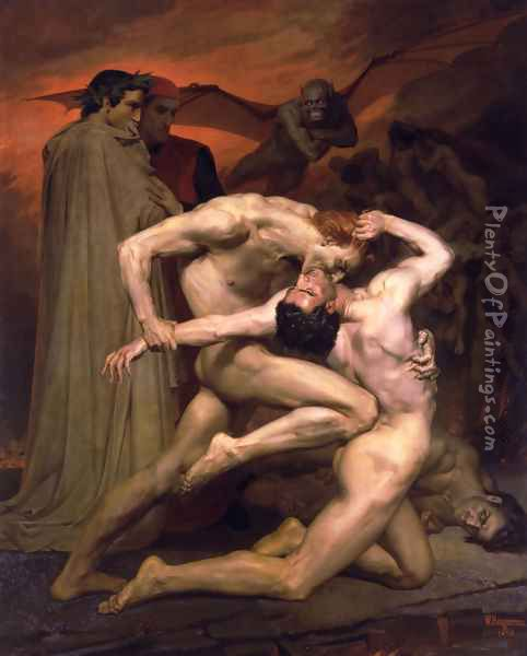 Dante et Virgile au Enfers (Dante and Virgil in Hell) Oil Painting - William-Adolphe Bouguereau