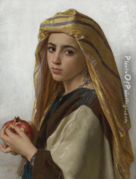 L'orientale A La Grenade (girl With A Pomegranate) Oil Painting - William-Adolphe Bouguereau