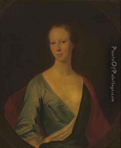 Portrait of a lady, traditionally identified as Lady Tinwald Oil Painting - William Aikman
