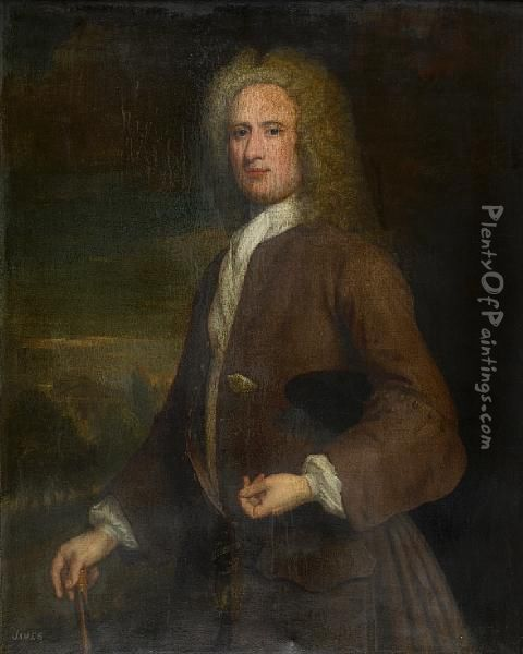 Three-quarter Length Portrait Of A Gentleman,reputed To Be John Campbell Oil Painting - William Aikman