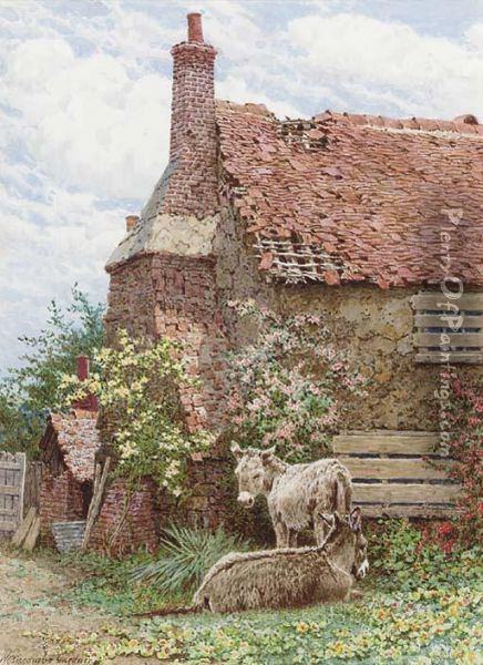 Donkeys Resting In The Sun Oil Painting - William Biscombe Gardner